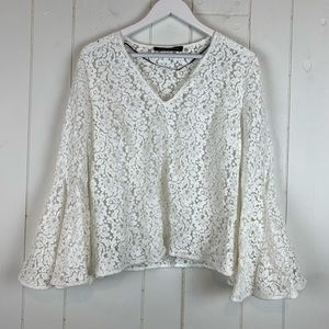 Zara Full Lace Blouse Large White Flare Sleeves